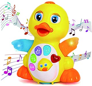 Uizbeer Dancing Duck Baby Toys,Toddlers Musical Flapping Duck Light Singing Walking Educational Learning Toy Gift for 1-3 Years Old Boys/Girls- 6 Songs, Speaking and Sound Adjustable,Yellow