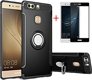 BetterAmy for Huawei P9 Plus Case& Tempered Glass Screen Protector,Back Case Cover with 360 Degree Rotation Ring Holder Compatible with Car Mount Holder,Black