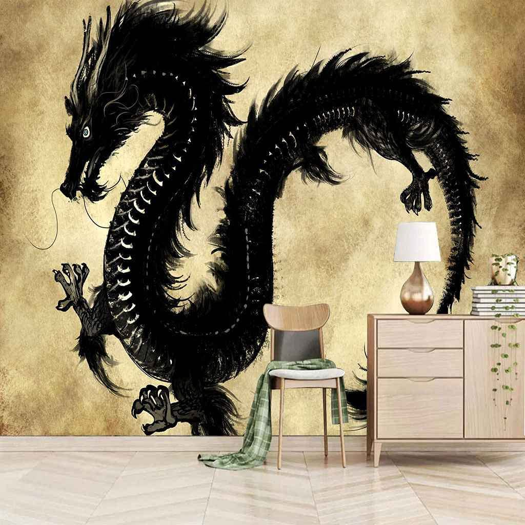 HWCUHL At the price of surprise Wall Stickers Kids Bedroom Dragon Canvas Art Animal Regular discount Black