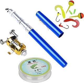 Gonaling Portable Mini Telescopic Pen Fishing Rod Reel Combo Set - Pocket Fishing Rod Pole + Reel Aluminum Alloy + Fishing Line+ Soft Lures Set(Blue)