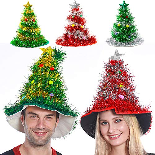 Camlinbo 3 Pack Christmas Hat Tree Hat Santa Hat with Tinsel Colorful Poms Christmas Costume (Red, Green, Silver)