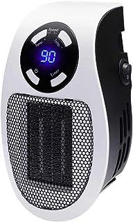 WSJS Pequeño PTC Calentador Digital Enchufe con Pantalla LED cálida soplador de Aire de Pared portátil del radiador Estufa para el Dormitorio Oficina salón 500w Blanco,EU