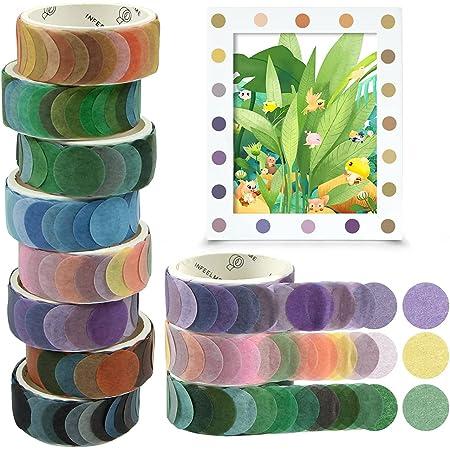 O-Kinee Washi Tape, 8 Rolls Dot Washi Tape Stickers, 800 Pièces Dots Stickers 14mm Largeur Ruban Adhésif Papier Décoratif Masking Tape pour Scrapbooking Artisanat de Bricolage