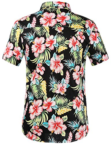 SSLR Men's Casual Button Down Shirts Short Sleeve Hawaiian Shirts for Men (Large, Red Hibiscus)