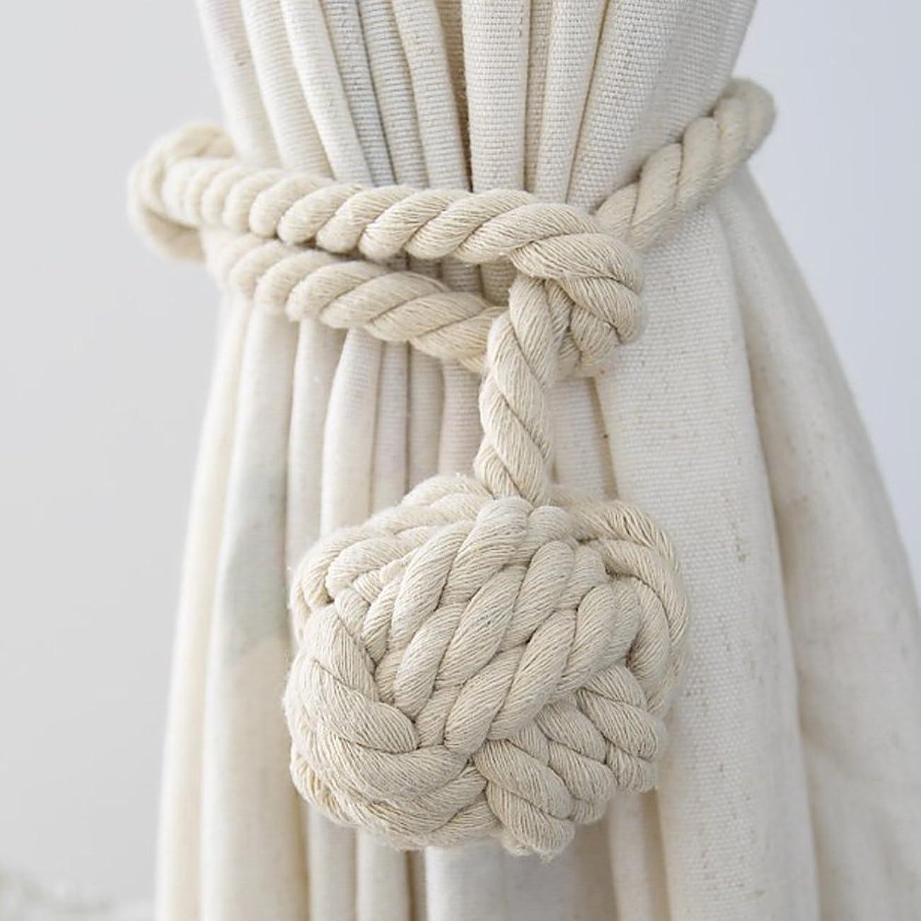 ディスコ擁する威信Culturaltu カーテンタッセル ロープ式 2個セット カーテン留め飾り カーテン アクセサリー ロープタッセル 紐 締め 編み込み ロープタッセル 房掛け バックル ホルダー シンプル (ベージュ)