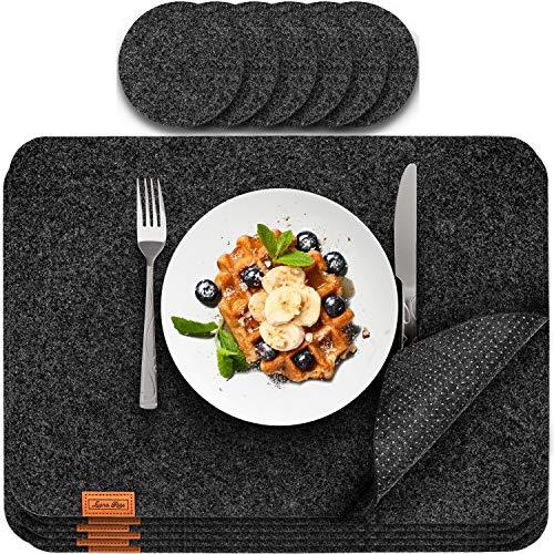 Luana Rose Platzsets aus Filz 12er Set in Anthrazit - Tischset abwischbar - 44x32 cm Filzuntersetzer - Hochwertige Platzdeckchen abwaschbar in Grau - Tischuntersetzer Platzset + Glas Untersetzer-Set