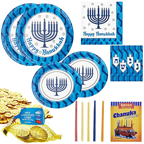 Hanukkah Plates and Napkins for 16 Guests includes Chanuka Candles, chocolate gelt coins Menorah Chanukah Paper Table Goods Kit includes 16 Dinner Plates, 16 Dessert Plates, 16 Lunch Napkins, 16 Beverage Napkins, 16 Mesh bags of Milk Chocolate Gelt Coins, 1 Box of 44 Hannukah Candles to Celebrate the Festival of Lights and Light the Menorah on this Joyous Sweet Occasion