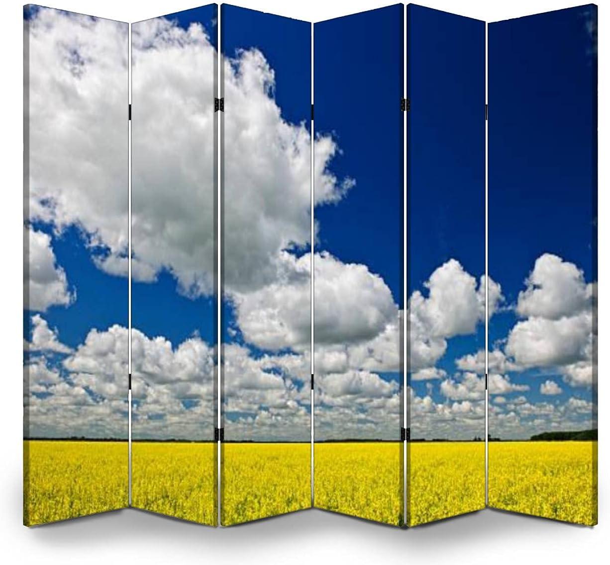 6 Panels Room Gifts Divider Screen Elegant Priv Partition Folding Field Canola