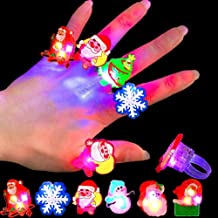 Gavoyeat Christmas LED Ring Luminous Flash Finger Rings Toys 50 Pack Party Favor Blinking Jelly Rubber Rings Kids Adults G...