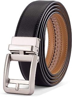 Men's Ratchet Casual Dress Belt with Click Sliding Buckle, Adjustable Trim to Fit