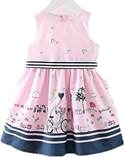 Little Girls Floral Print Butterfly Sleeveless Skirt Dresses 1-7 Years