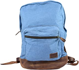 Hide & Drink, Casual Vintage Denim Backpack with Bottom Leather/Travel Backpack/School Backpack, Handmade :: Lachua