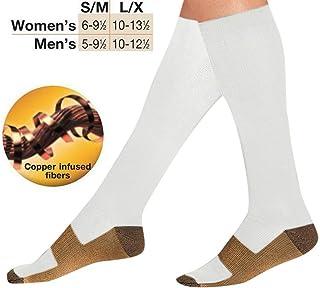 5Pares Calcetines Altos para compresión, para Mujer y Hombre, para Deporte, Running, Varices, Recuperación, Embarazo, Circulación Sanguínea, Vuelos, Trombosis, Enfermeras