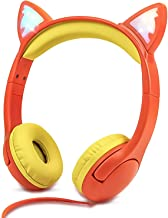 Olyre Wired Cat Headphones for Kids On-Ears Stereo Foldable LED Cute Kitty Gift Headset with 3.5MM Jack Wire Cord, Compati...