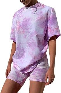 Simayixx Womens 2 Piece Casual Outfits Gradient Tie Dye Short Sleeve Tops + High Waist Skinny Pants Shorts Set