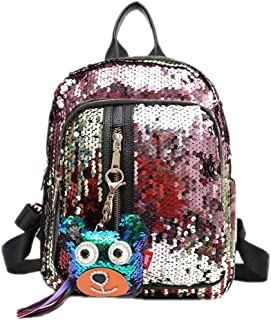 Fashion Women's Glitter Sequins Backpack Cute Pendant School Bag 4