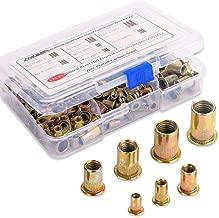 Rivet Nut, LOKMAN 175PCS Metric Rivet Nut Kit Carbon Steel Flat Head Threaded Insert Nut Assorted in M3 M4 M5 M6 M8 M10 M12, Knurled Body (Rivet Nut Kit 1)