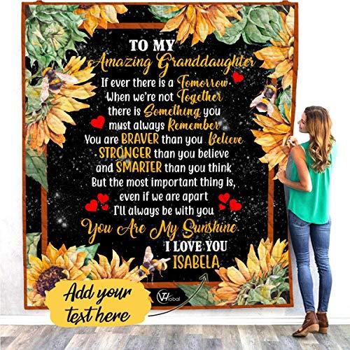 VTH Global Personalized Custom Name to My Granddaughter You are My Sunshine Sunflower Quilt Throw Fleece Blanket from Grandmother Grandma Nana Mimi Gigi Grandpa Papa