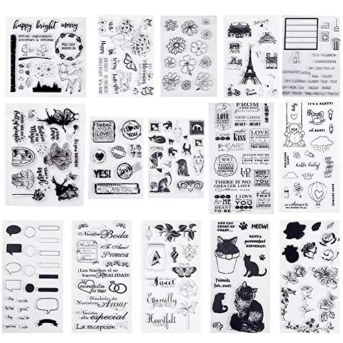 PandaHall Elite 15 hojas (flor, gato, trébol, viaje) Sellos de silicona transparentes para hacer tarjetas, álbumes de recortes, decoración de tarjetas de fotos
