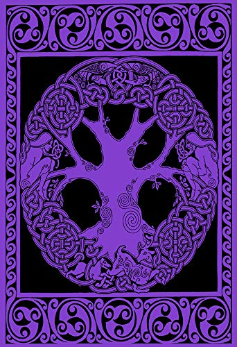 Tree of Life Celtic Knot Tapestry - Purple Wall Hanging Bedspread Curtain Twin Size 52' x 76'