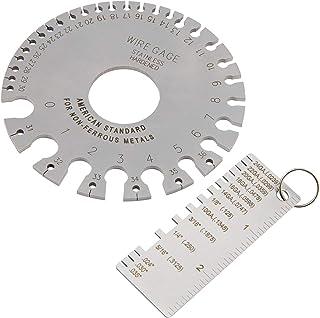Biubee 2 pcs Stainless Steel Wire Metal Sheet Thickness Gauge Welding Gauge Wire Thickness Gauge & Round Dual Sided Metal Sheet Guage