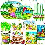 BETOY Fiesta Diseño de Dinosaurio, Vajilla de Dinosaurio Desechable - Set de 110 Piezas de Fiesta Diseño de Dinosaurio, Incluye Pancarta, Platos,Vasos, Cubiertos, Servilletas,Mantel, 10 Personas