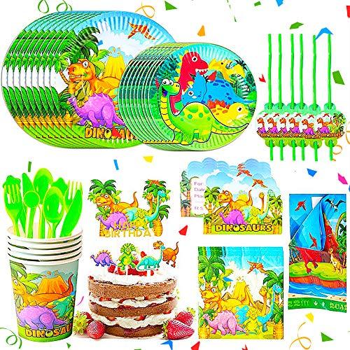 BETOY Fiesta Diseño de Dinosaurio, Vajilla de Dinosaurio Desechable - Set de...