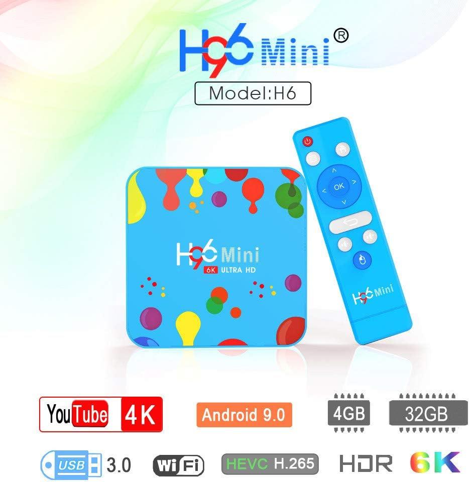 H96 Mini Android 9.0 TV Box Allwinner H6 Quad Core 4GB 32GB H.265 2.4G&5.8G Dual WiFi BT4.0 HD Google Player YouTube Smart Set top Box Media Player + with i8 Keyboard