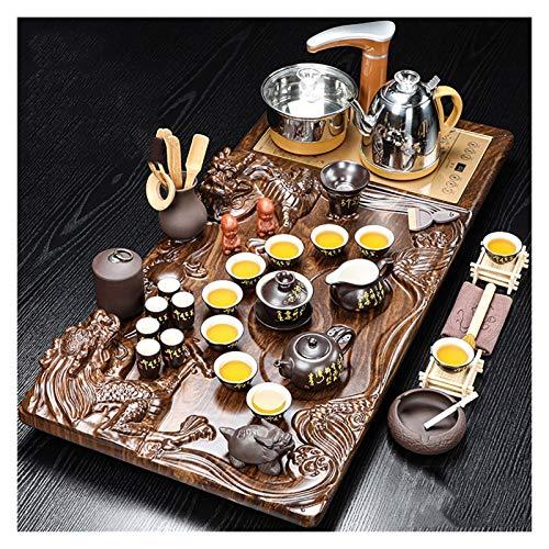 Tea Set,Tea Serving Tray Kung Fu Tea Set With Wood Chinese Tea Set, Ceramic Tea Set, Chinese Ceramic Kungfu Tea Set, Household Simple Ceramic Cup Electric Hot Pot Coffee Table Tea Ceremony Tea Set Sol