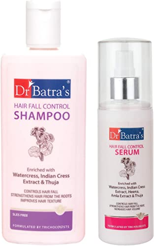 Dr Batra s Hair Fall Control Shampoo 200ml and Hair Fall Control Serum 125 ml Pack of 2 Men and Women