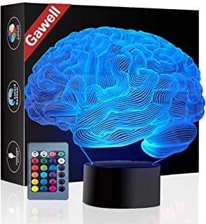 Brain 3D Illusion Halloween Decorations Lamp Night Light, Gawell 16 Color Changing Table Desk Lamp Birthday Present with Acrylic Flat & ABS Base & USB Cable & Remote Control Toy for Brain Fans Lover