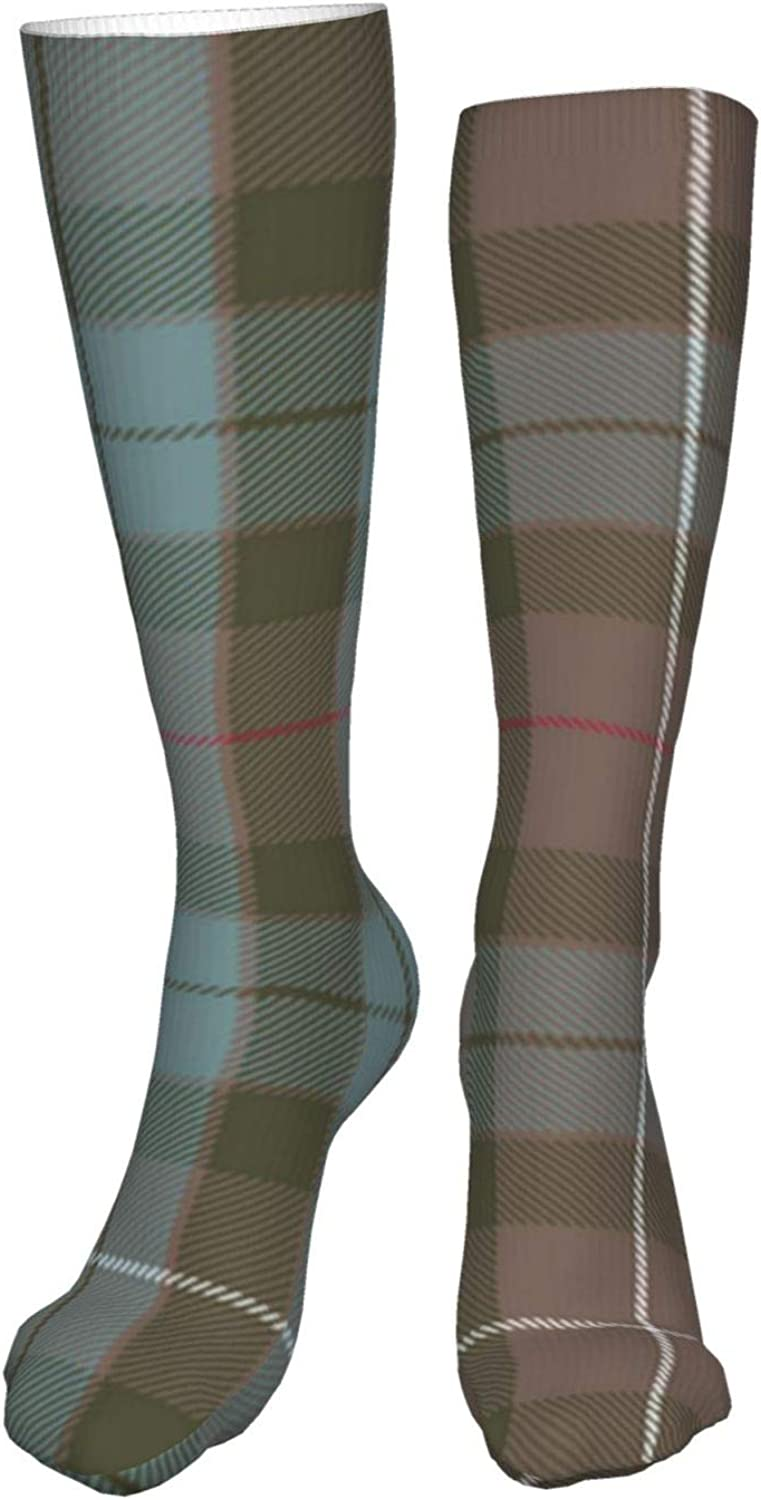 Muted Blue And Red Plaid Women Premium High Socks, Stocking High Leg Warmer Sockings Crew Sock For Daily And Work