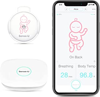 (2020 New Model) Sense-U Baby Monitor with Breathing Rollover Movement Body Temperature Sensors: Track Your Baby's Breathi...