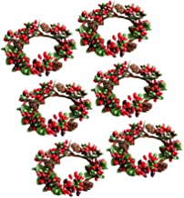KESYOO 6Pcs 7cm Christmas Candle Ring with Pine Cone Mini Wreath Candle Ring Tea Light Candle Holder Small Berry Wreaths f...