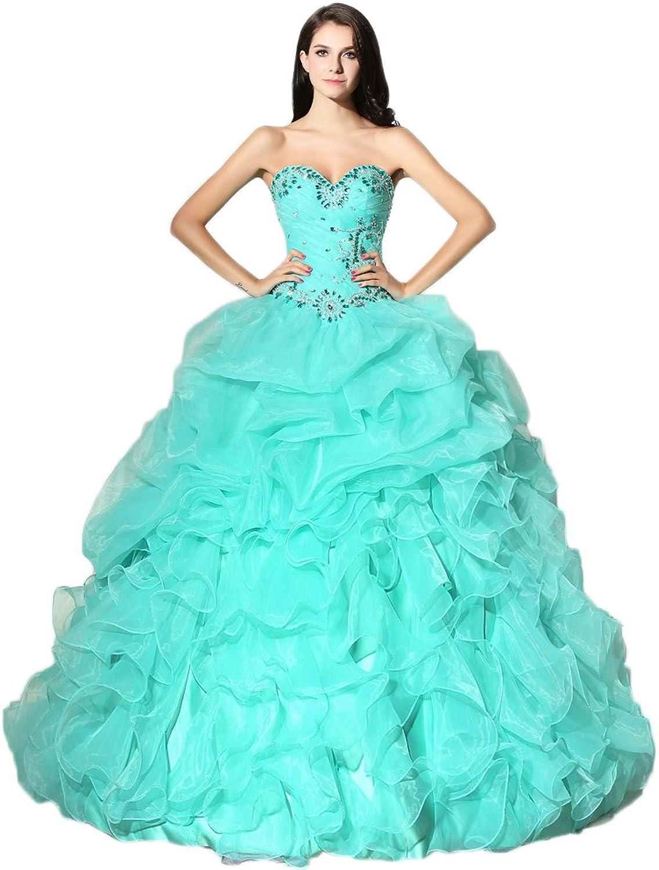 Maricopyjam Women's Beaded Sweetheart and Waist Cascaded Ruffles Organza Long Ball Gown Quinceanera Dress