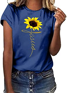 Sunyastor Women Blouse,Plus Size Summer Sunflower Print Short Sleeved T-Shirt Blouse Tops Summer Solid Color T-Shirt