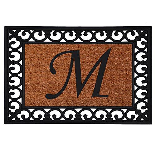 "Home & More 180041925M Inserted Doormat, 19"" X 25"" x 0.60"", Monogrammed Letter M, Natural/Black"