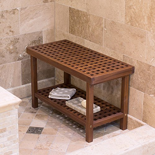 Belham Living Lattice Teak Shower Bench