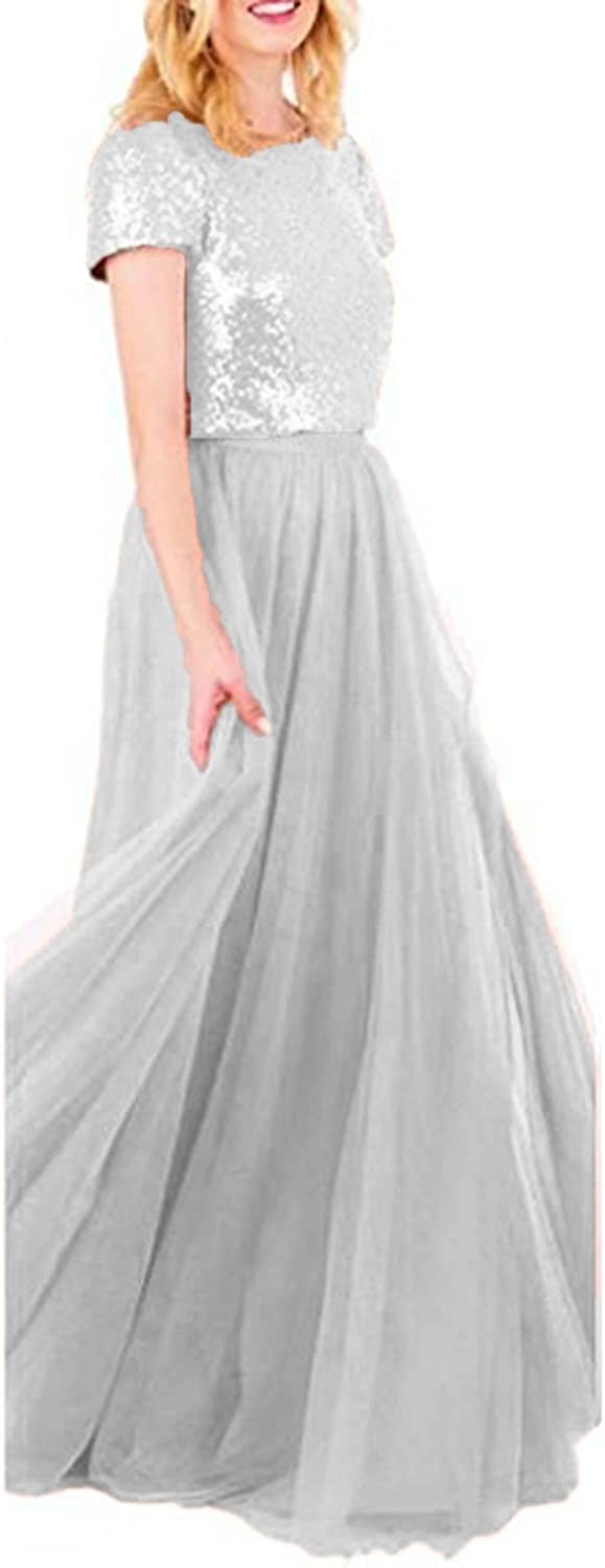 Future Girl Long Two Piece Bridesmaid Dresses with Sleeves Sequins Top Tulle Skirt Plus Size Prom Gown