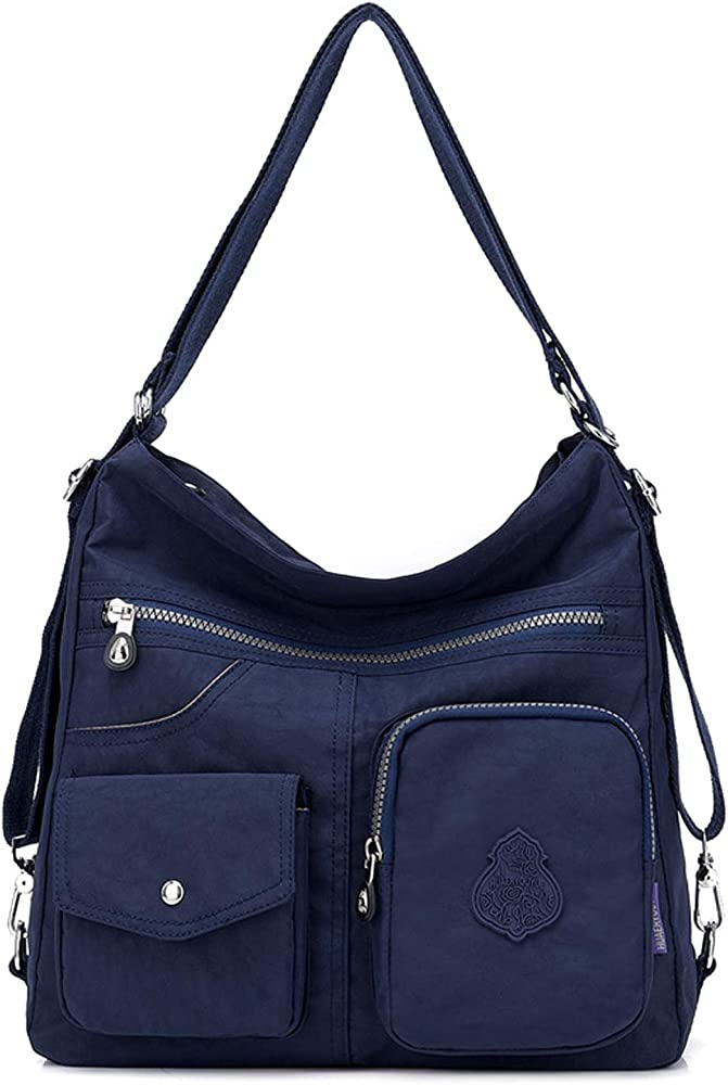 Outreo, borsa/zaino per donna, 100% nylon di cotone di alta qualità, impermeabile, blu