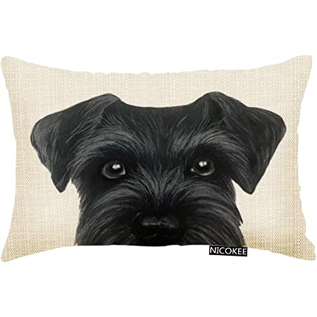 Nicokee Throw Pillow Cover Black Schnauzer Original Painting Dog Puppy Decorative Pillow Case Home Decor 20x12 Inches Pillowcase Home Kitchen