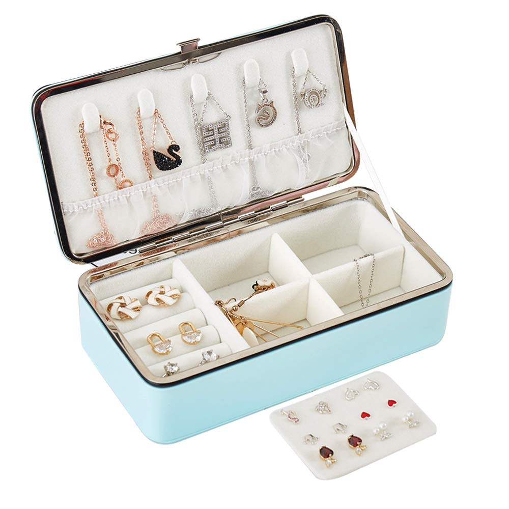 LATIT Jewellery Box Organiser Small Travel PU Leather Jewelry Storage Case for