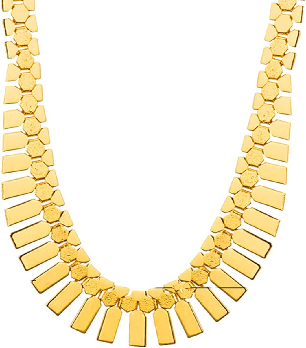 ODETOJOY Gold Bib Chain Necklace for Women Choker 18K Gold Plated Statement Necklace For Men Thick African Jewelry Pendants 46CM