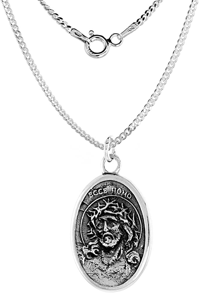 Sterling Silver 送料無料でお届けします Jesus 未使用 with Crown Thorns Sorrowful Meda of Mother