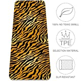 Yellow Tiger Pattern 01 Upgraded Yoga Mat Eco Friendly Non-Slip Exercise Fitness Mat with Carrying Bag Workout Mat for All Type of Yoga Pilates and Floor Exercises 72x24in