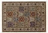 TIWA GHOM echter klassischer Orient Felderteppich handgeknüpft in creme-creme, Größe: 250x300 cm