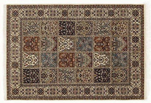 TIWA GHOM echter klassischer Orient-Felder-Teppich handgeknüpft in creme-creme, Größe: 80x200 cm
