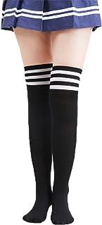 Calcetines Altos de Rodilla de Mujeres Medias de Muslo Alto con Rayas Coloridas para Cosplay, Halloween, Fiesta, Vestido Diario, Calcetines de fútbol, calcetines deportivos