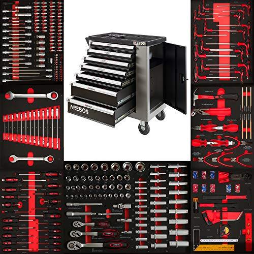 Arebos Werkzeugwagen 7 Schubladen gefüllt mit Werkzeug