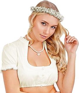 Krüger Dirndl Krüger Collection Damen Dirndlbluse Alexa 22142-2 - Ecru - Trachten Bluse mit Stehkragen